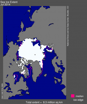 Antarctic sea ice extent map