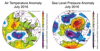 Figure 2b. The plot above shows July 2016 Arctic air temperature anomalies at the 925 hPa level in degrees Celsius and sea level pressure anomalies. Yellows and reds indicate higher than average temperatures and pressure; blues and purples indicate lower than average temperatures and pressure.