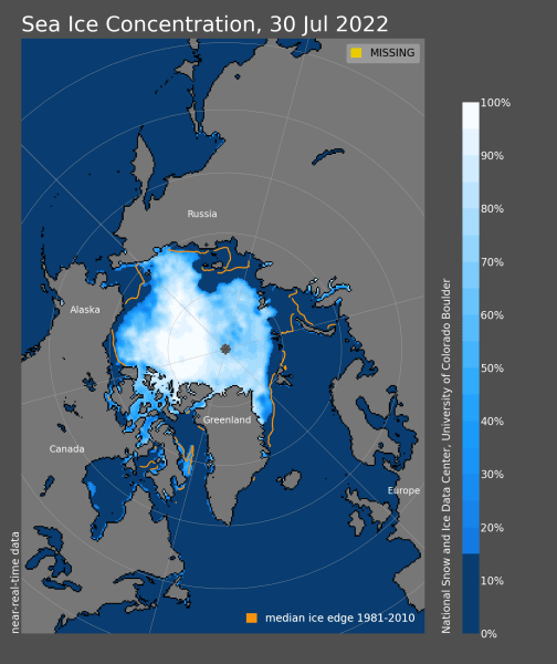 Arctic Sea Ice News and Analysis   Sea ice data updated daily with     extent map concentration map time series