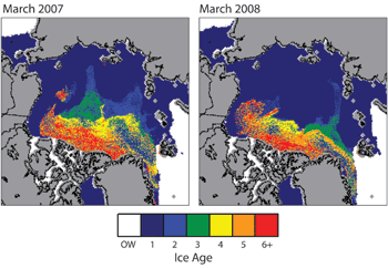 Two maps of sea ice age side-by-side