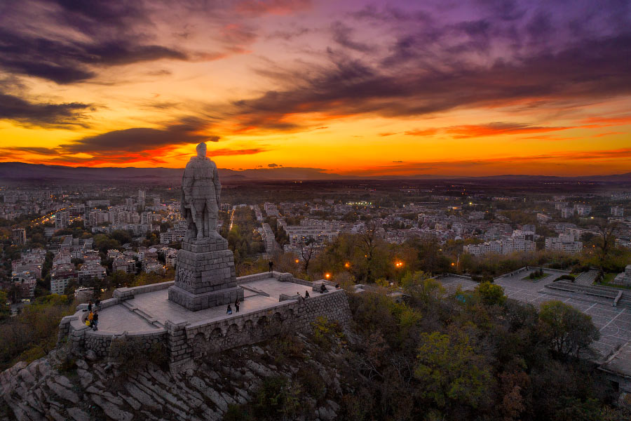The Bunardjik hill, with Aliosha monument in Plovdiv, Bulgaria