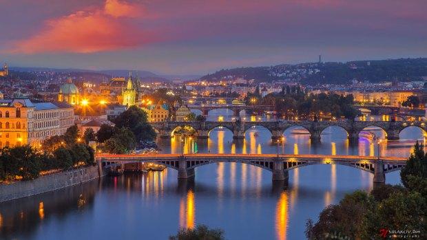 Sunset over the Bridges on Valtava river in Prague, The Czech Republic