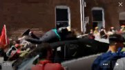 A vehicle is seen plowing into the crowd gathered on a street in Charlottesville, Virginia, U.S., after police broke up a clash between white nationalists and counter-protesters, August 12, 2017, in this still image from a video obtained from social media. Faith Goldy
