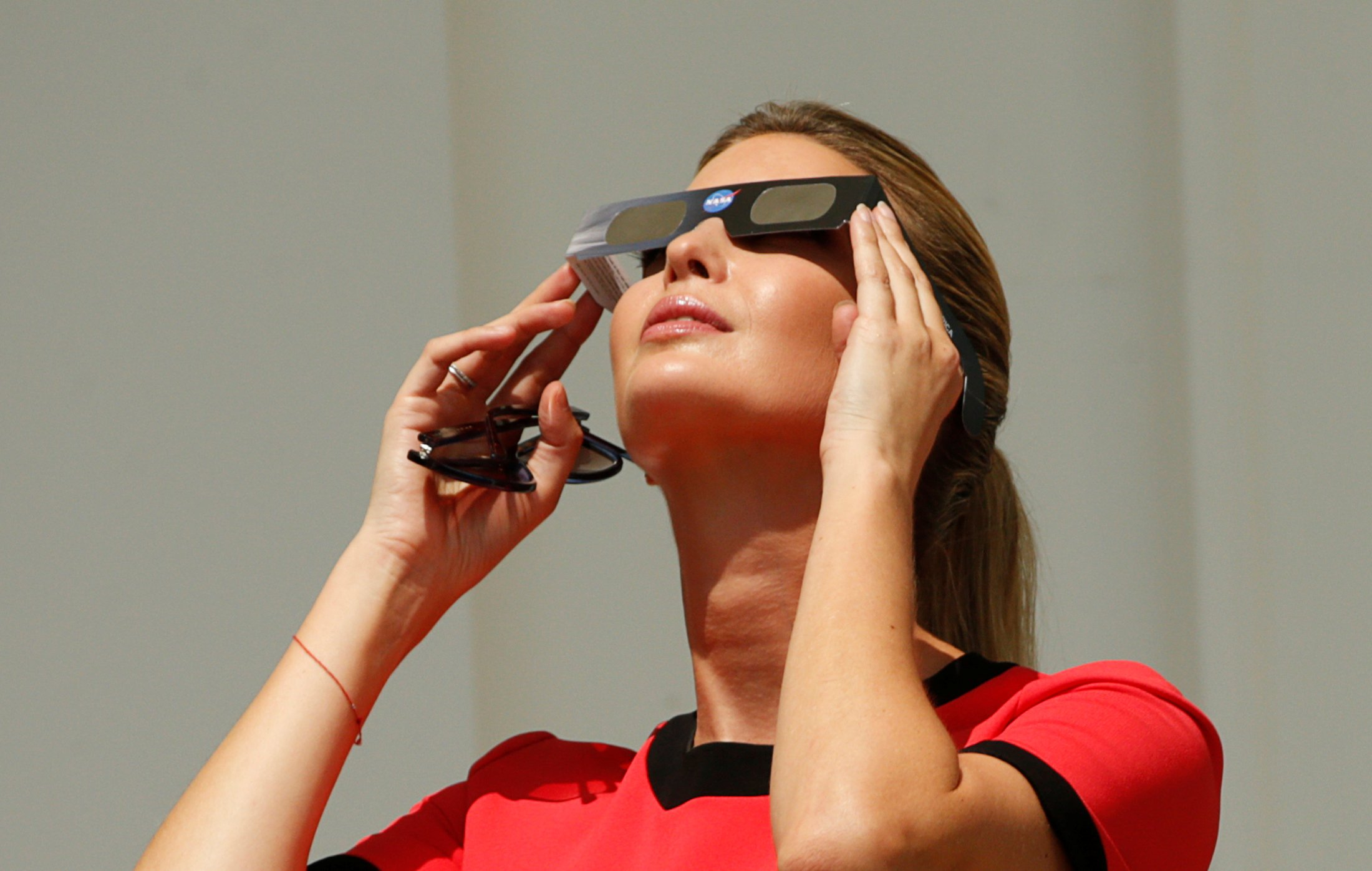 Ivanka Trump watches the solar eclipse from the White House in Washington, U.S., August 21, 2017.