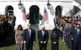 U.S. President Donald Trump stands with first lady Melania Trump, Vice President Mike Pence and his wife Karen (R) during a moment of silence in the wake of the the mass shooting in Las Vegas at the White House in Washington, U.S., October 2, 2017. REUTERS/Kevin Lamarque