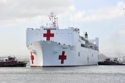 The Military Sealift Command hospital ship USNS Comfort arrives to help those affected by Hurricane Maria in San Juan, Puerto Rico, October 3, 2017. Courtesy Christopher Merian/U.S. Air Force/Handout via REUTERS