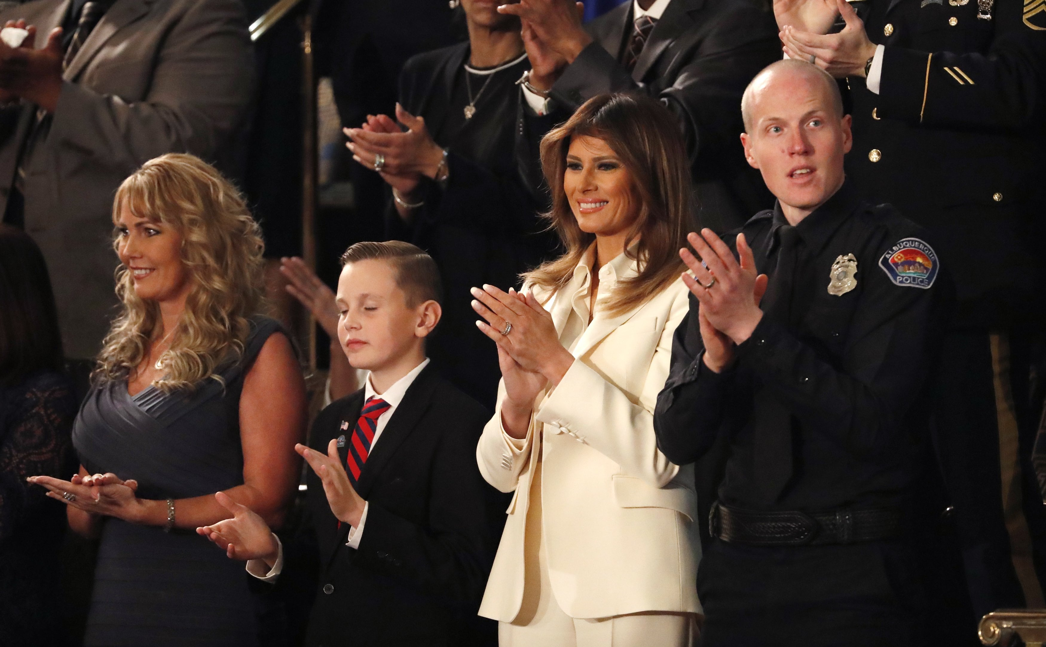 First lady Melania Trump and guests watch as U.S. President Trump delivers his State of the Union address in Washington