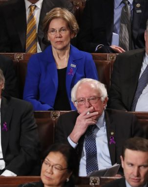 U.S. Senators Elizabeth Warren and Bernie Sanders listen as U.S. President Donald Trump delivers his State of the Union address to a joint session of the U.S. Congress on Capitol Hill in Washington, U.S. January 30, 2018. REUTERS/Jonathan Ernst