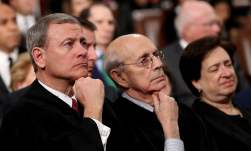 U.S. Supreme Court Chief Justice John G. Roberts and Associate Justices Stephen Breyer and Elena Kagan listen during U.S. President Donald Trump's first State of the Union address to a joint session of Congress on Capitol Hill in Washington, U.S., January 30, 2018. REUTERS/Win McNamee/Pool
