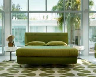 master bedroom modern green geometric rug
