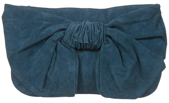 topshop leather clutch bag blue