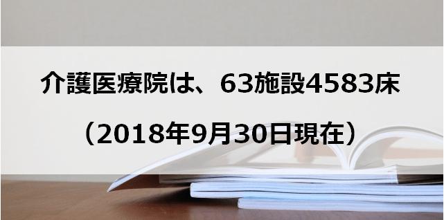 介護医療院は、63施設4583床(2018年9月30日現在)