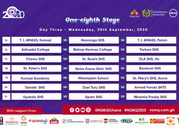 2020 NMSQ: Fixtures for NSMQ One-eighth Stage 5