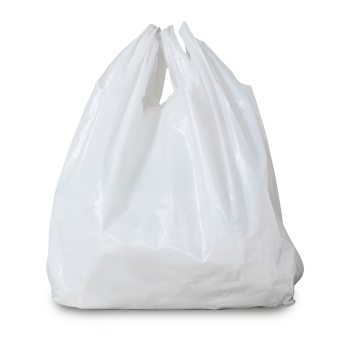 Image of plastic shopping bag stuffed with paper