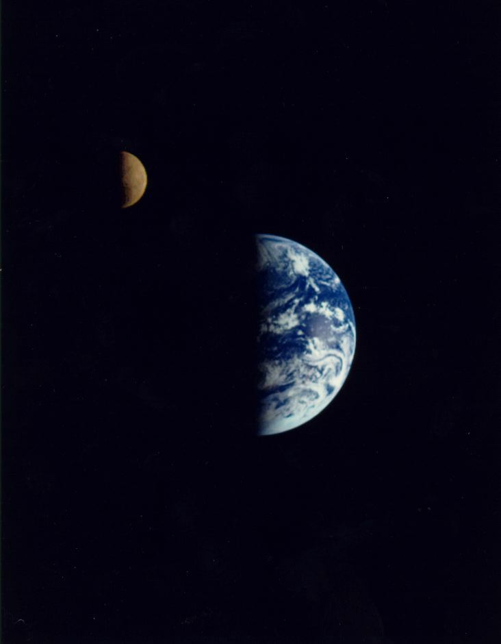 This image was taken by Galileo as it flew by the Earth-Moon system in 1992. (Size: 26K)