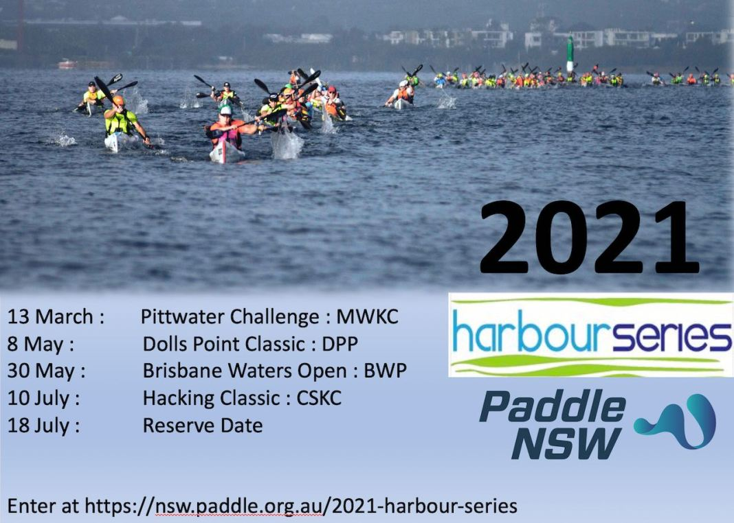 Flyer for the 2021 Paddle NSW Harbour Series, with top half image of large group of paddlers competing in race.