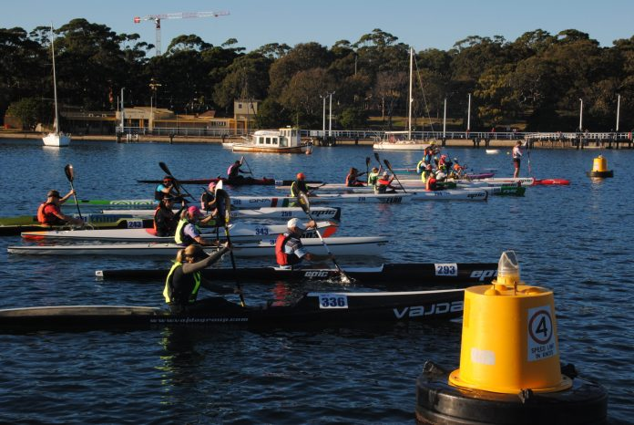 Paddlers in single skis at the start line of a race and poised to go.