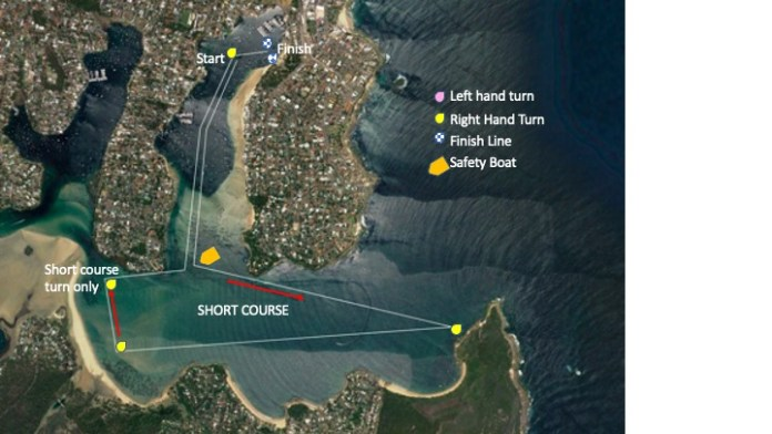 Satellite map of Hacking Classic short course, with yellow buoys marking turns.