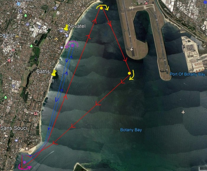 Satellite map with two race courses marked in blue and red within Botany Bay.