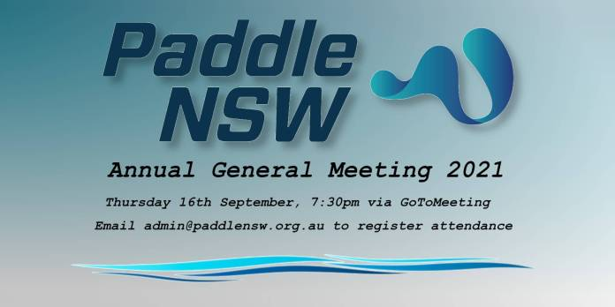 Flyer with notice of Paddle NSW 2021 AGM