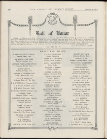 Printed Roll of Honor from 'Railway Budget' magazine, NRS 15298/1/4/23, p.348