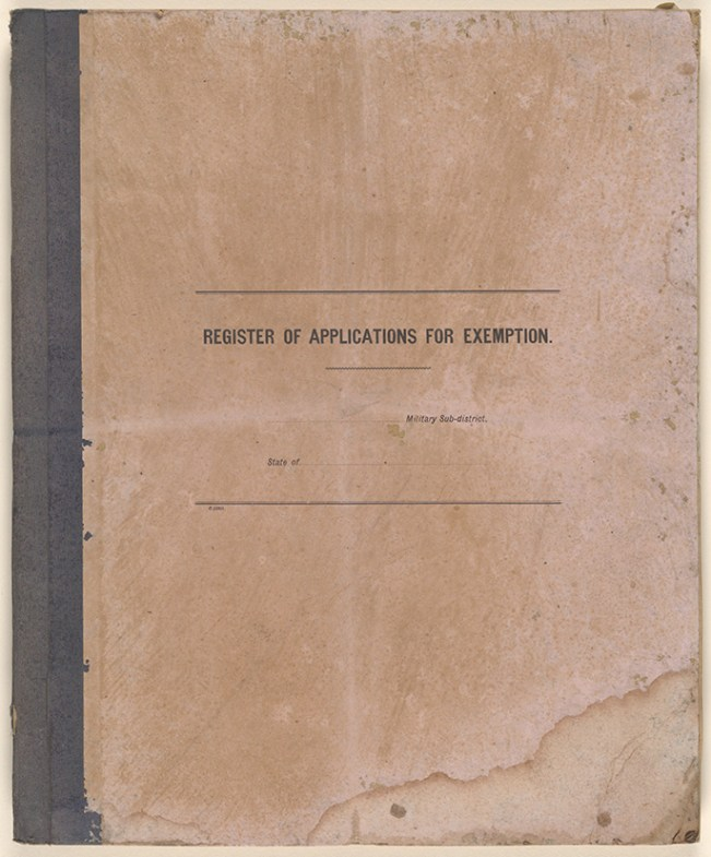 [Fig. 1] Cover of Register of applications for exemption. From NRS 20173.