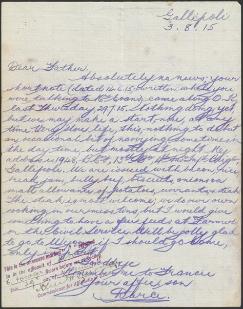 Lawrie Joseph D'Arcy Fowler letter, 1915. From NRS 13660 4-71768