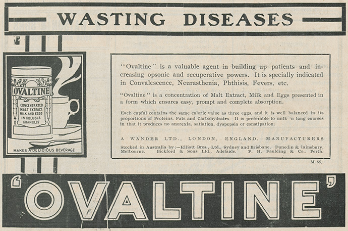 Advertisement for Ovaltine, 1915. From NRS 905 [5/7347 letter 15/25633_Ovaltine].