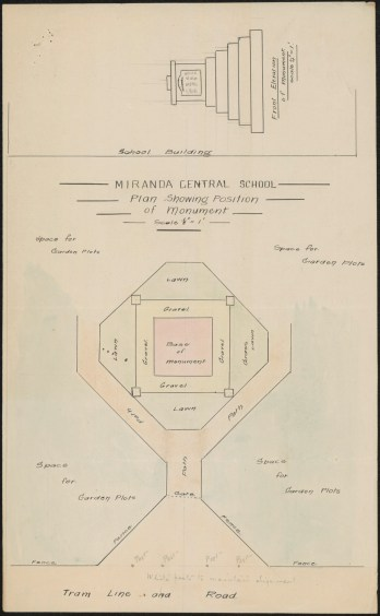 Fig 8: Miranda Central Public School plan of monument, June 1918. From NRS 3829, [5/16867], bundle A