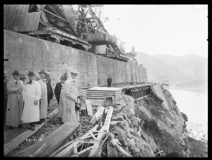 Visit of State Governor's to Burrinjuck Dam, April 1915. From NRS 4481 MS3354P.