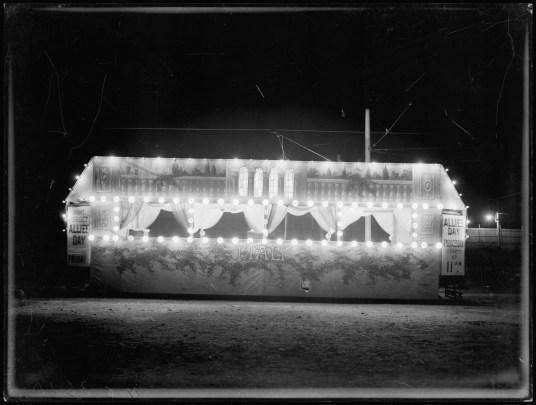 Illuminated tram car, Italy decorated for Allies Day, Nov 1915. From NRS 4481 MS3610P.