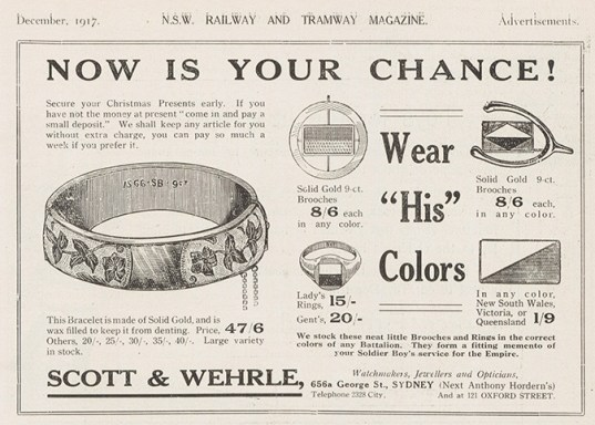 'Now is Your Chance!', Scott & Wherle advertisement, including jewelery featuring battalion colours, Dec 1917. From NRS 15298, [26], p. 4