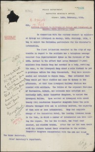 [Fig. 11] Police report on riotous conduct by soldiers at Sydney and Liverpool on Monday 14 February 1916. From NRS 905 [5/7437] letter 16/37445, p.1