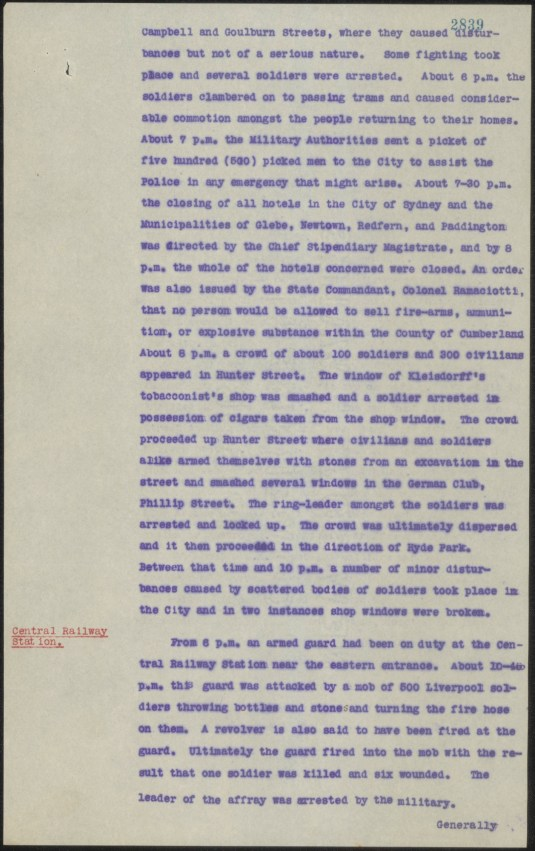 [Fig.14] Police report on riotous conduct by soldiers at Sydney and Liverpool on Monday 14 February 1916. From NRS 905 [5/7437] letter 16/37445, p.4