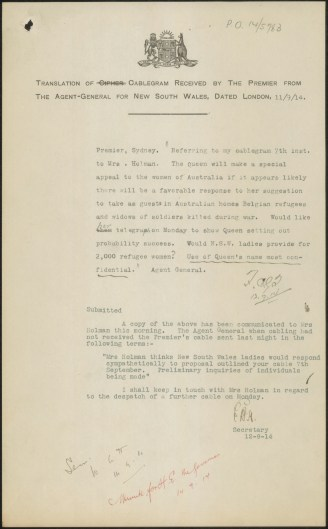 [Fig. 6] Cablegram to Premier from Agent General in London, 11 September 1914. From NRS 12060 [9/4695] letter 15/544, p.7.