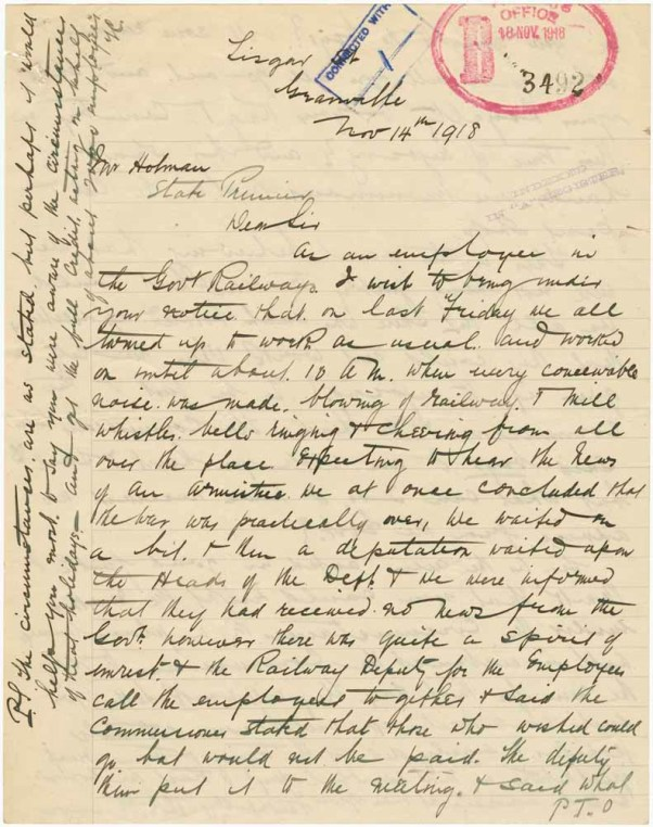 Letter from Thomas Channon to Premier Holman, 14/11/1918, p. 1. From NRS 12060, [9/4797], A19/38 enclosing B18/3492