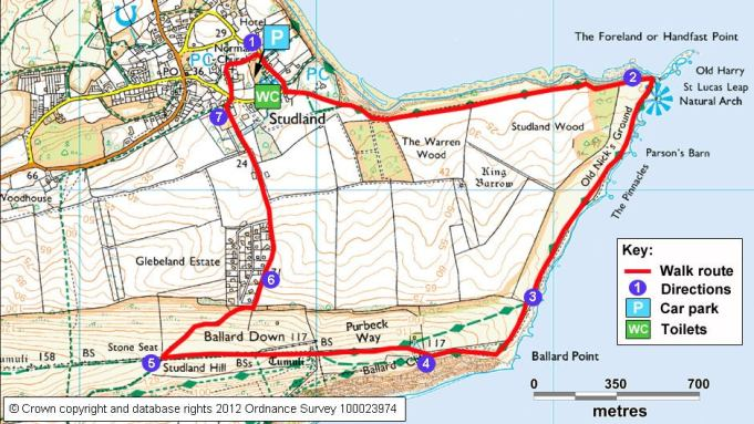 A map of the Old Harry Rocks walk