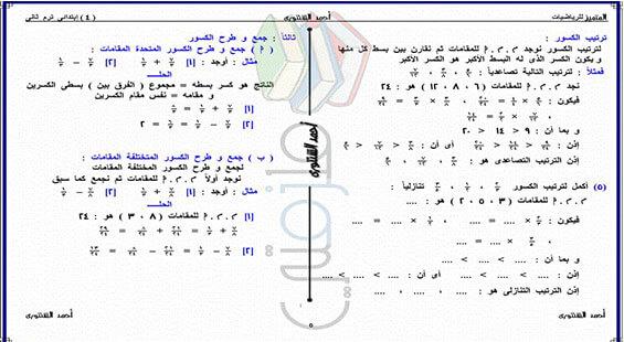 تحميل مذكرة رياضيات الصف الرابع الابتدائي