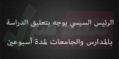 الرئيس السيسي يوجه بتعليق الدراسة في المدارس والجامعات لمدة أسبوعين