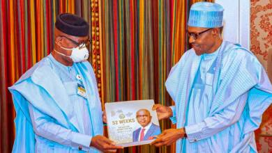 Photo of Video: President Buhari Receives Gov Dapo Abiodun (NTA Network)