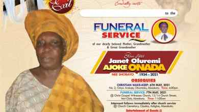 Photo of Glorious Exit: Janet Oluremi Ajoke Onada