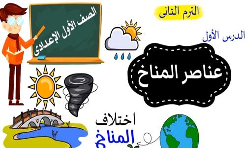 شرح درس عناصر المناخ للصف الأول الاعدادى