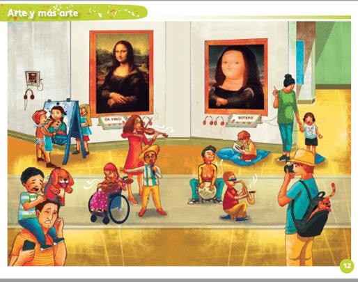 """Mi álbum. Preescolar. Tercer grado: """"Arte y más arte"""", página 12."""
