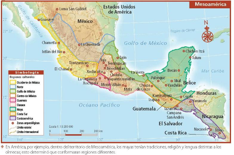En América, por ejemplo, dentro del territorio de Mesoamérica los mayas tenían tradiciones, religión y lengua distintas a los olmecas, esto determinó que conformaran regiones diferentes