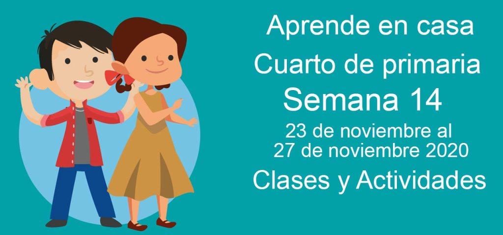 Aprende en casa Cuarto de primaria semana 14 del 23 al 27 de noviembre 2020 clases y actividades
