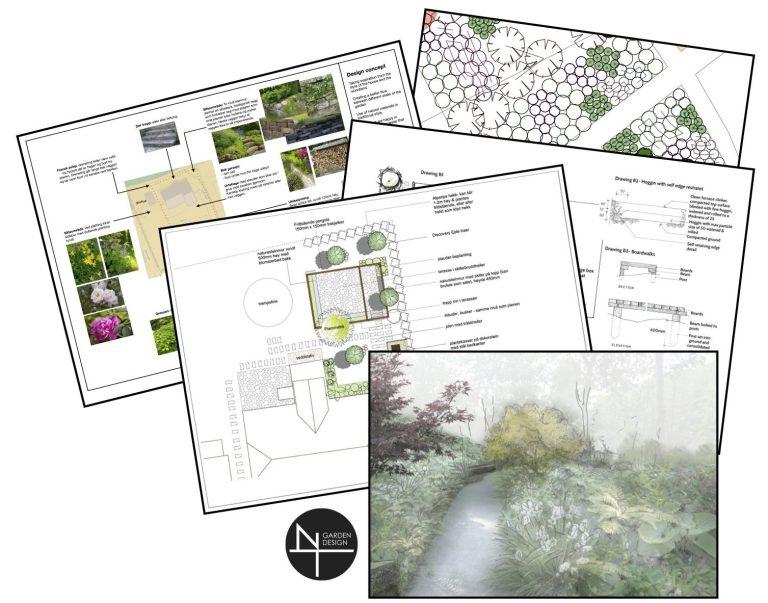 Hagedesign tegninger som er del av designprosessen