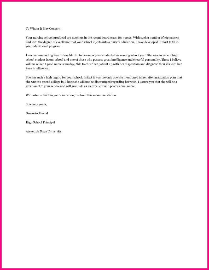 Nursing School Reference Letter Template Lettercard