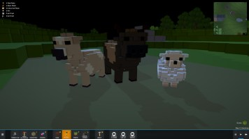 From left to right: cow (female and male) and sheep.