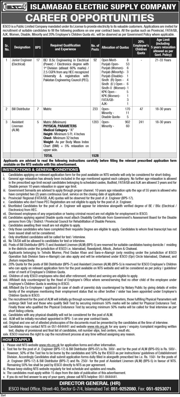 Islamabad Electric Supply Company IESCO NTS Jobs Results 2019