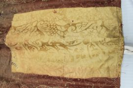 Yellow damask patch from Spangled bed ©National Trust/Textile Conservation Studio.